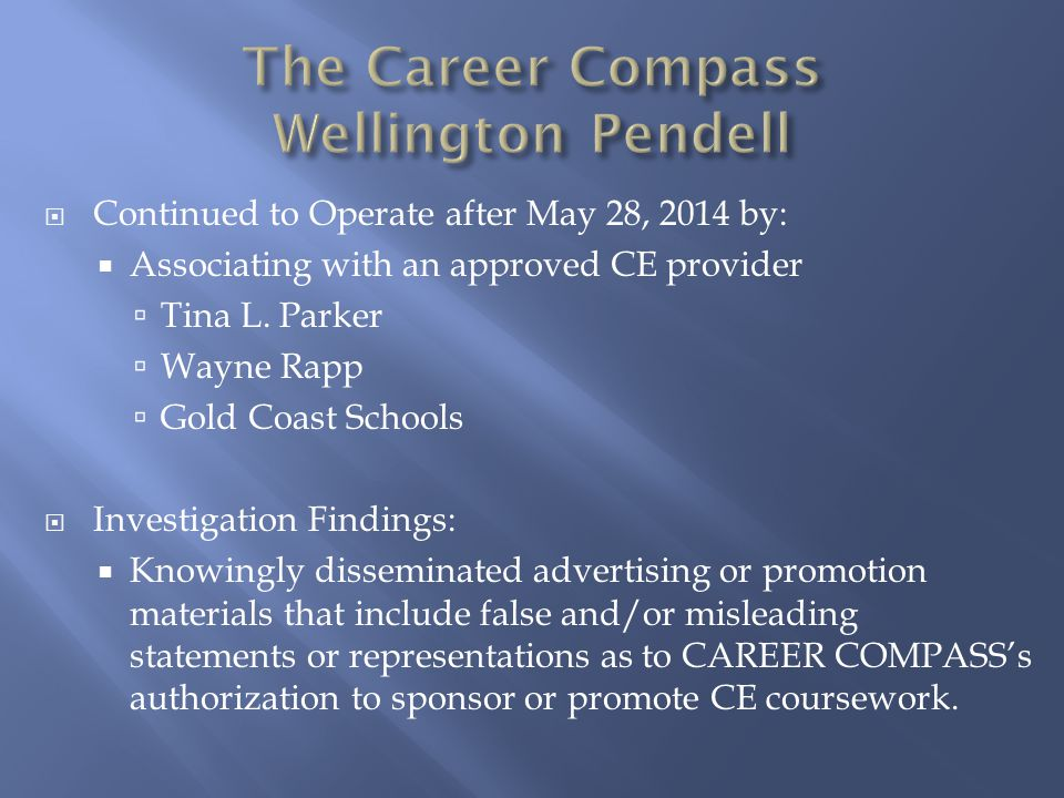 The Career Compass Wellington Pendell