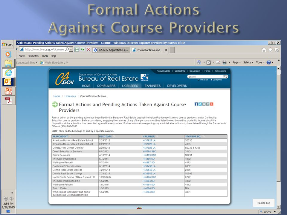 Formal Actions Against Course Providers