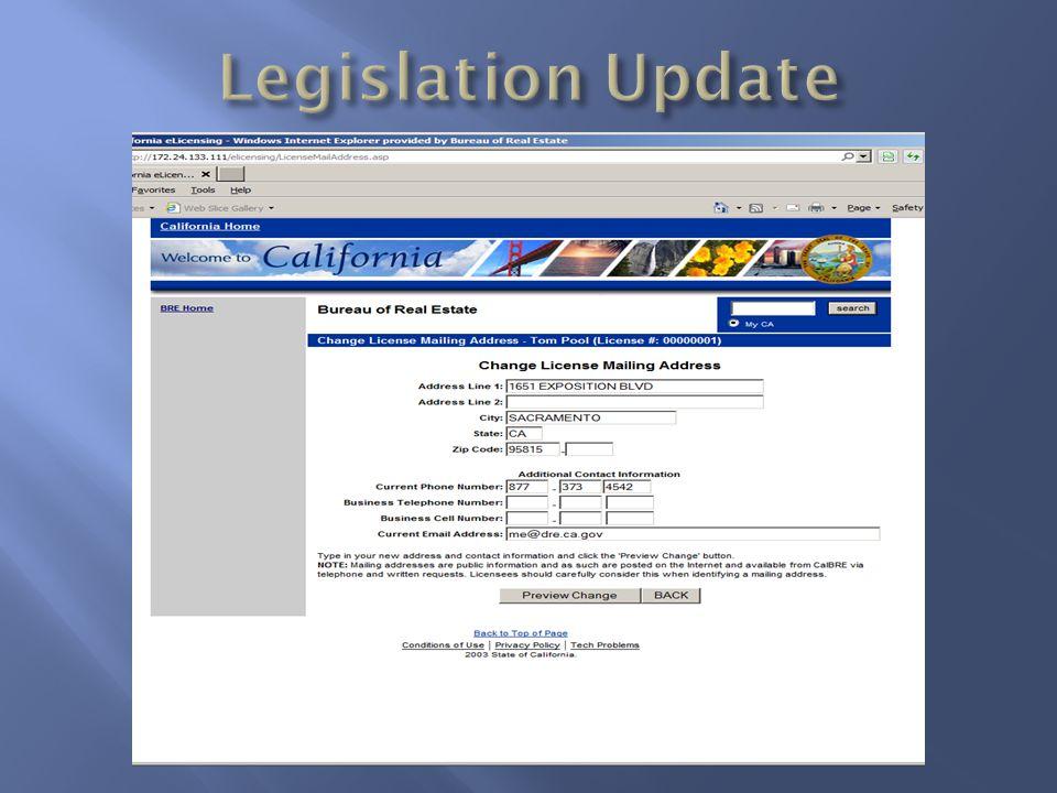 Legislation Update