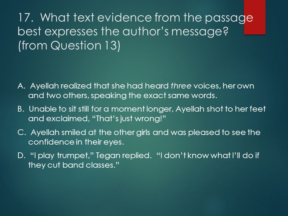 17. What text evidence from the passage best expresses the author's message (from Question 13)