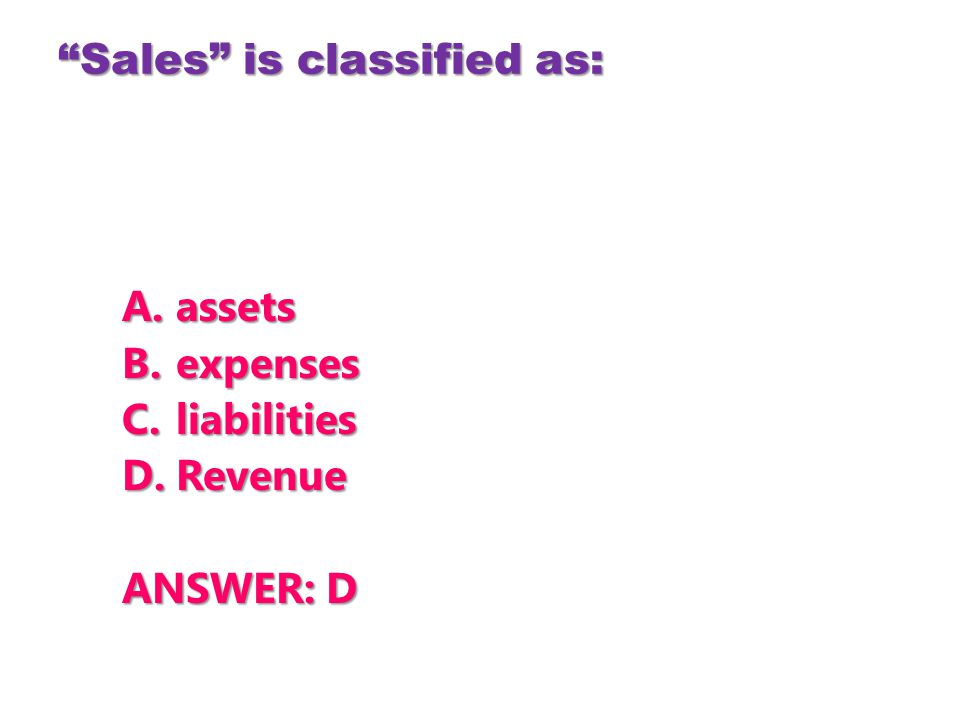 Sales is classified as:
