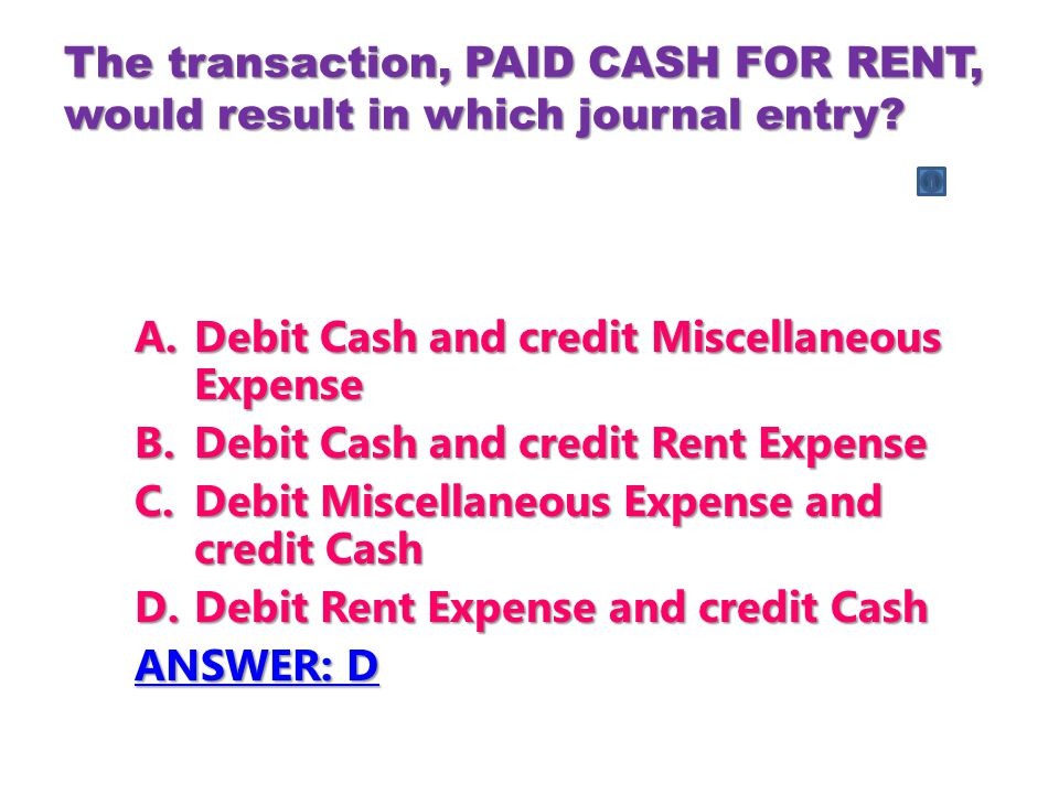 Debit Cash and credit Miscellaneous Expense