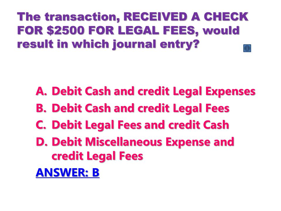 Debit Cash and credit Legal Expenses Debit Cash and credit Legal Fees