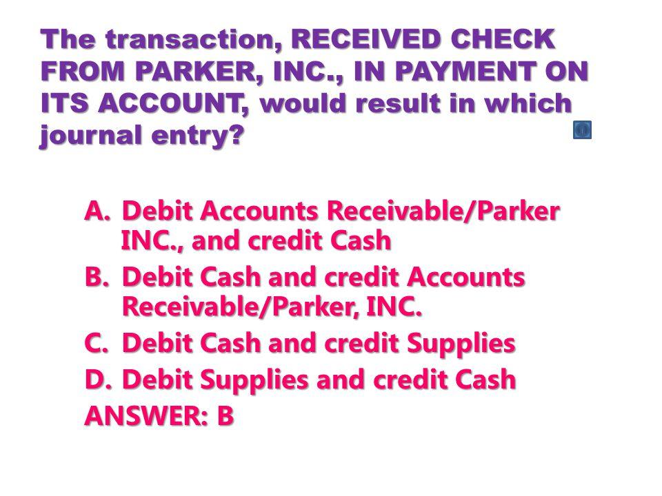 Debit Accounts Receivable/Parker INC., and credit Cash