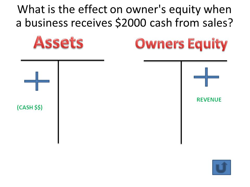 What is the effect on owner s equity when a business receives $2000 cash from sales