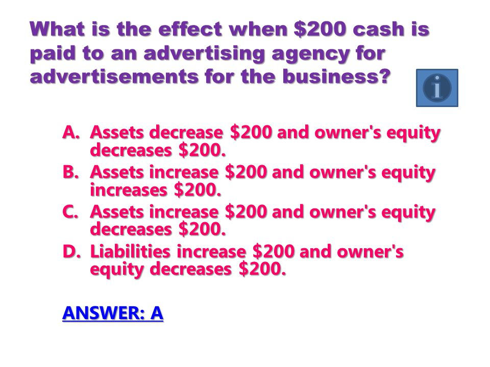 What is the effect when $200 cash is paid to an advertising agency for advertisements for the business