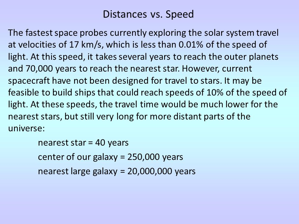 Distances vs. Speed