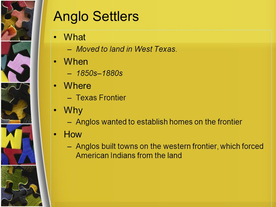 Anglo Settlers What When Where Why How Moved to land in West Texas.
