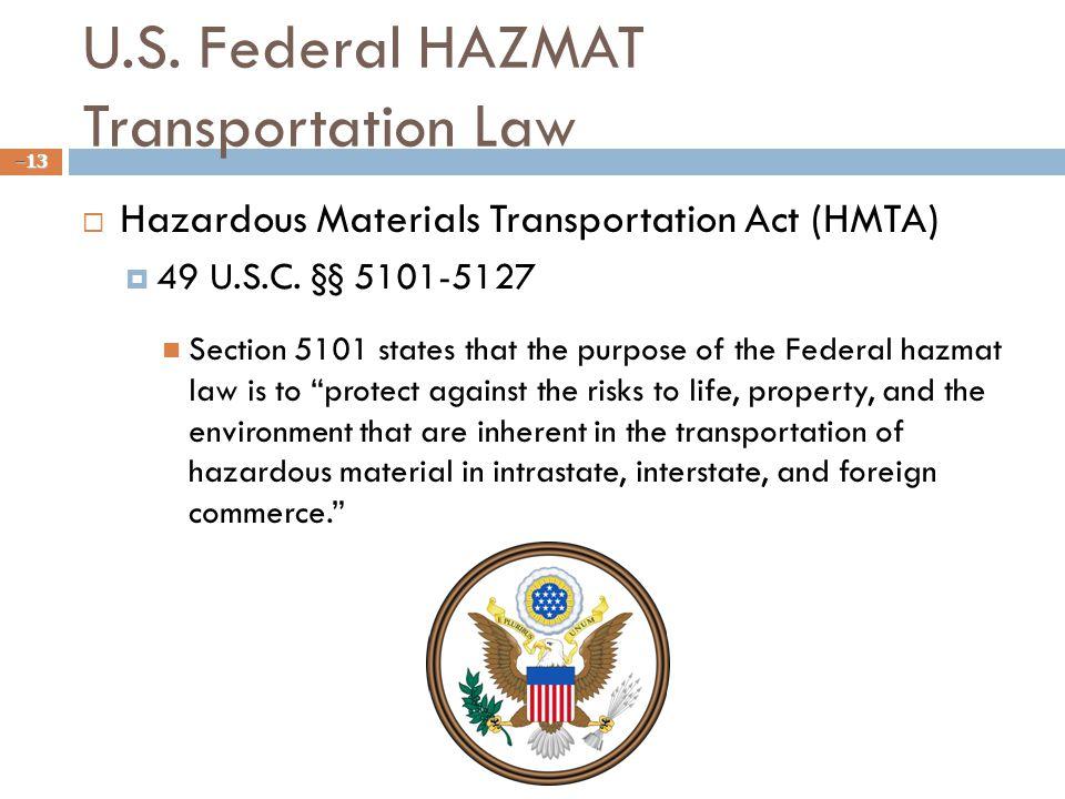 U.S. Federal HAZMAT Transportation Law