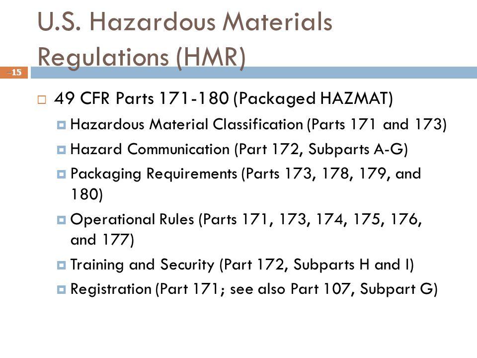 U.S. Hazardous Materials Regulations (HMR)