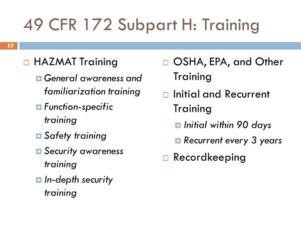 49 CFR 172 Subpart H: Training
