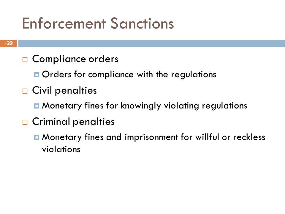 Enforcement Sanctions