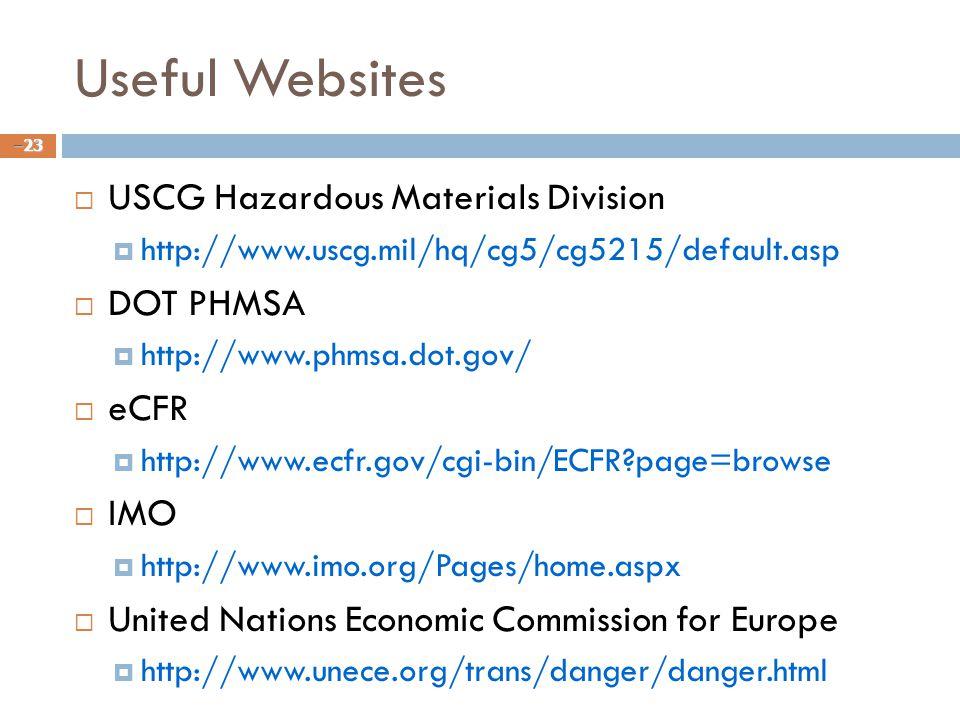 Useful Websites USCG Hazardous Materials Division DOT PHMSA eCFR IMO