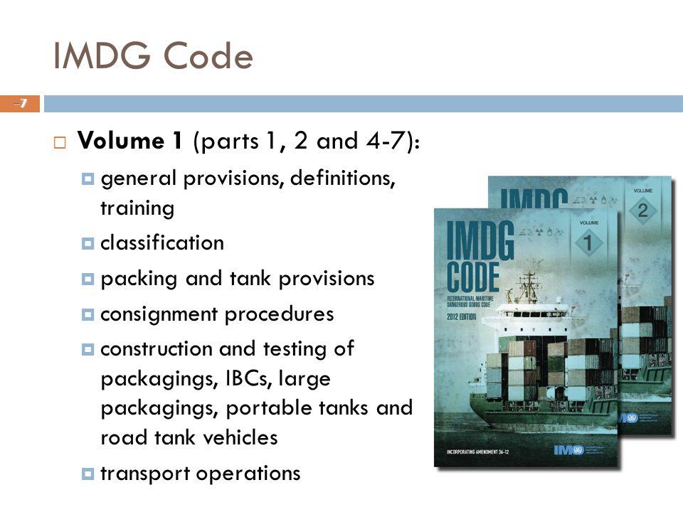 IMDG Code Volume 1 (parts 1, 2 and 4-7):