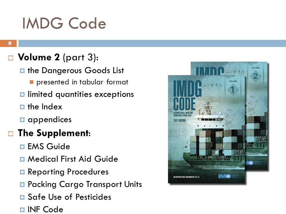 IMDG Code Volume 2 (part 3): The Supplement: the Dangerous Goods List