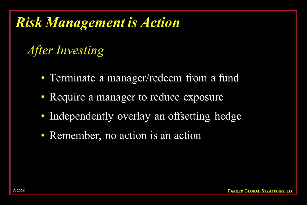 Risk Management is Action