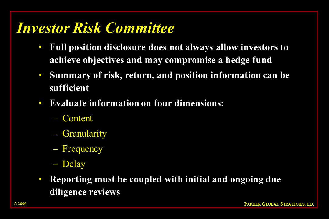 Investor Risk Committee