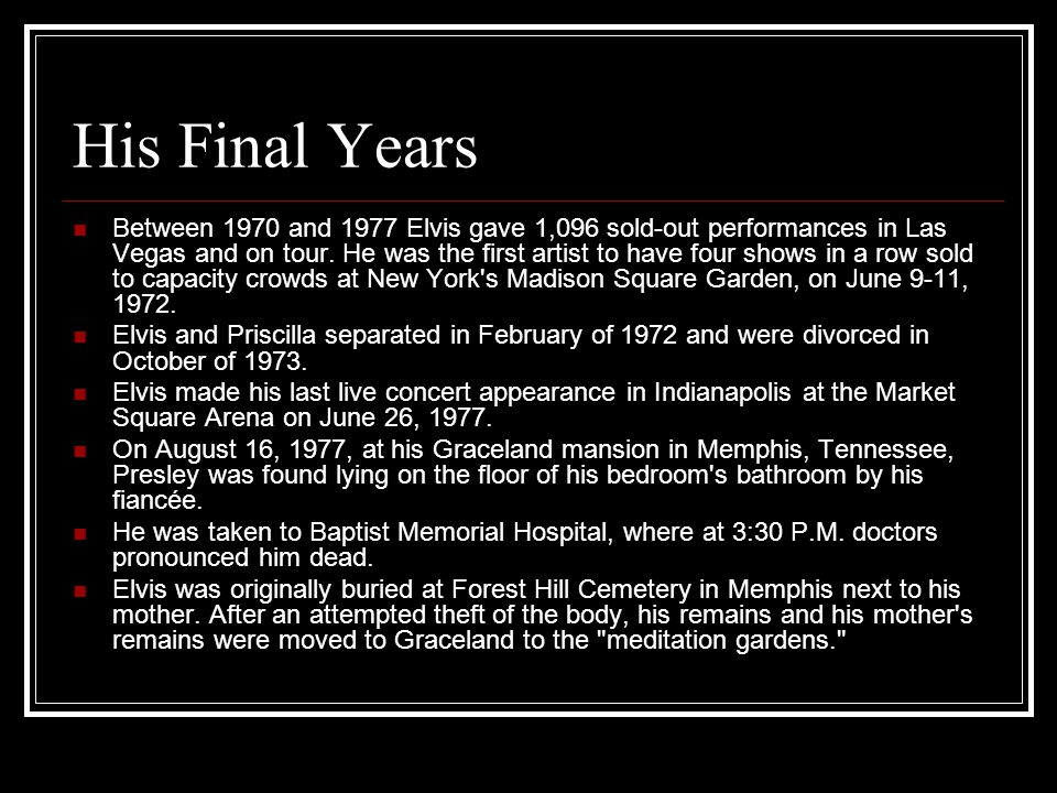 His Final Years