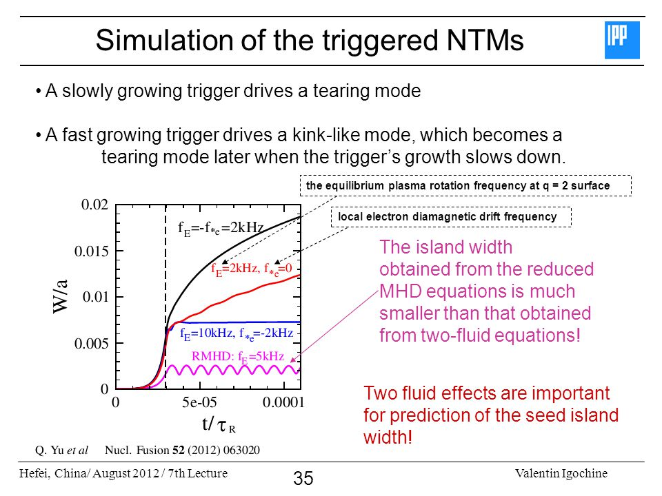 Simulation of the triggered NTMs