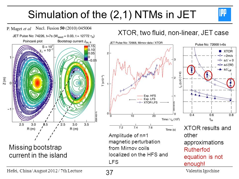 Simulation of the (2,1) NTMs in JET