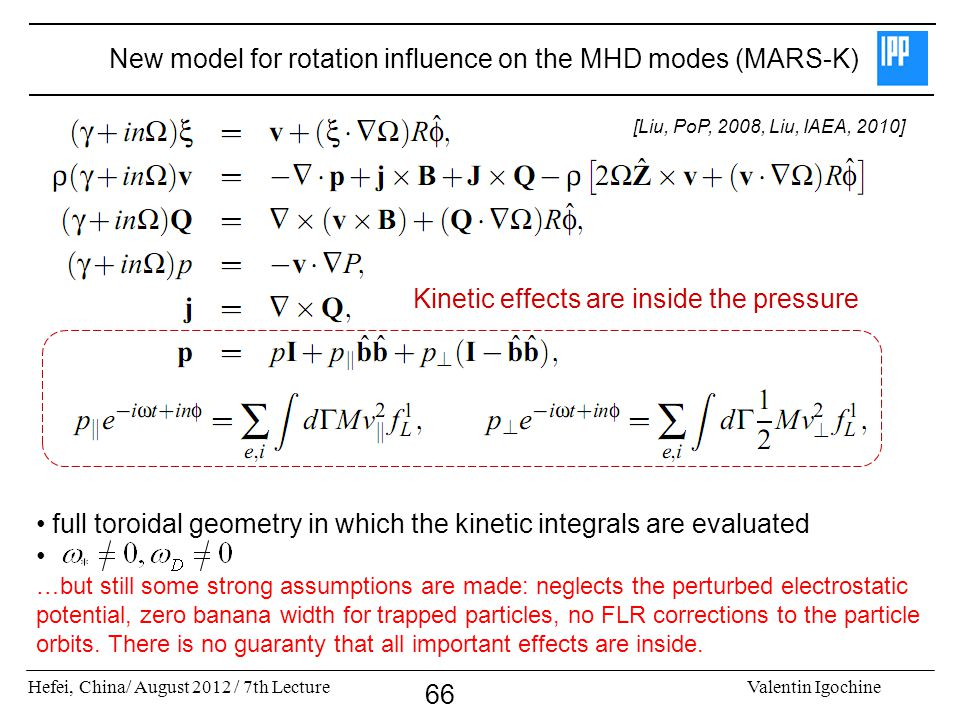 New model for rotation influence on the MHD modes (MARS-K)