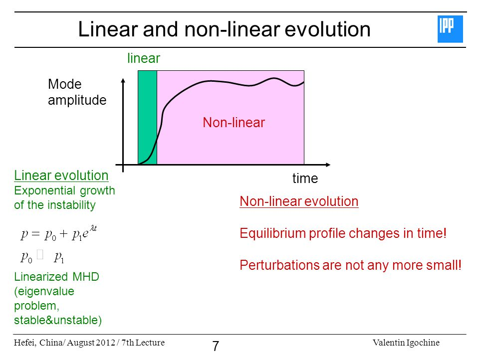 Linear and non-linear evolution