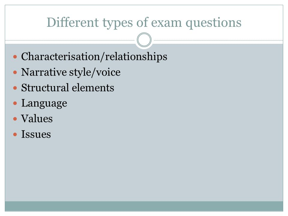 Different types of exam questions