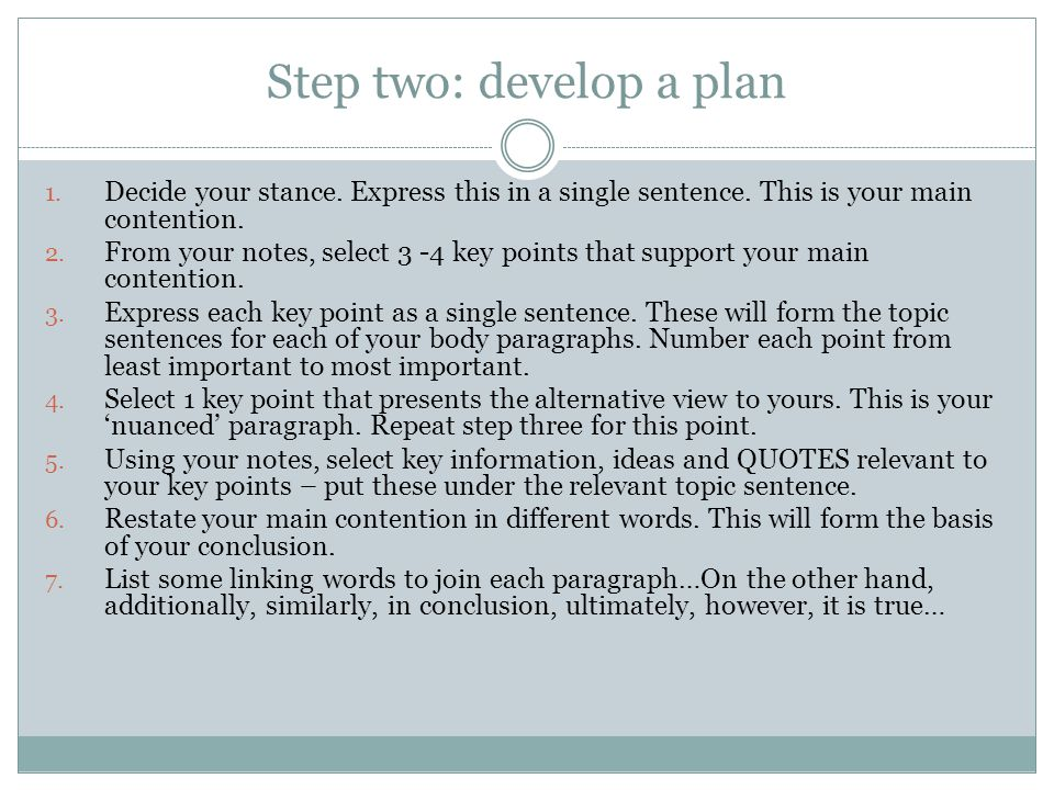 Step two: develop a plan