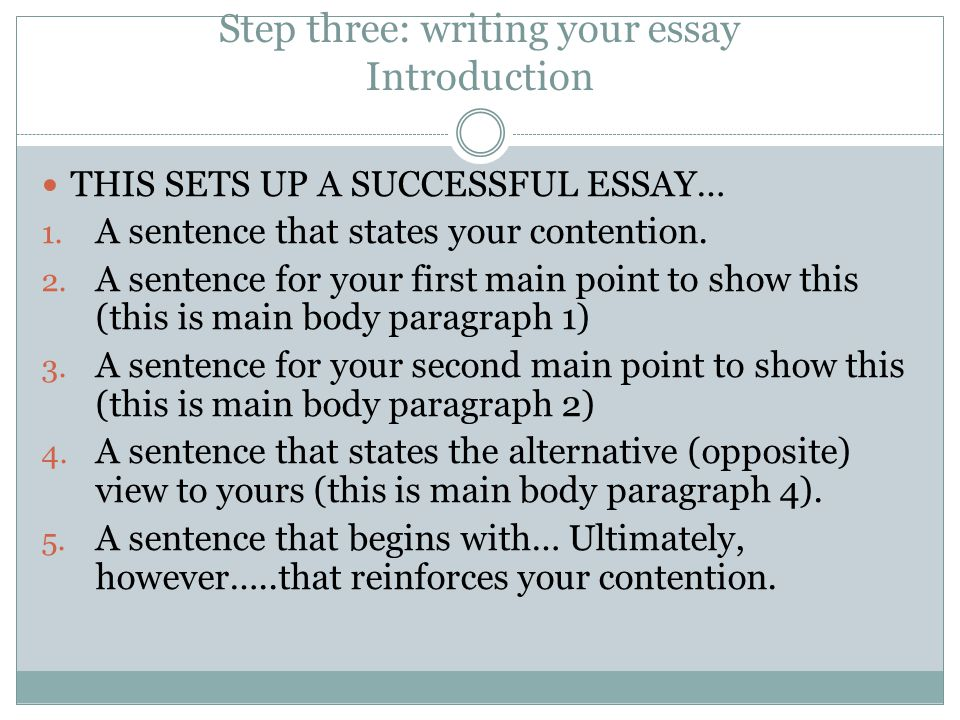Step three: writing your essay Introduction
