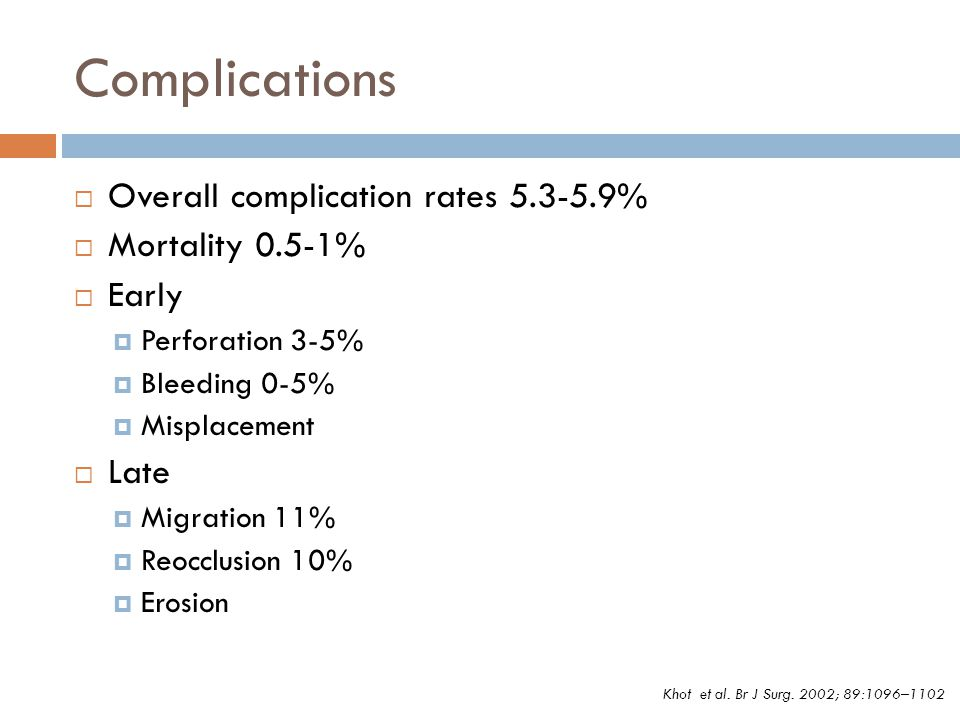 Complications Overall complication rates 5.3-5.9% Mortality 0.5-1%
