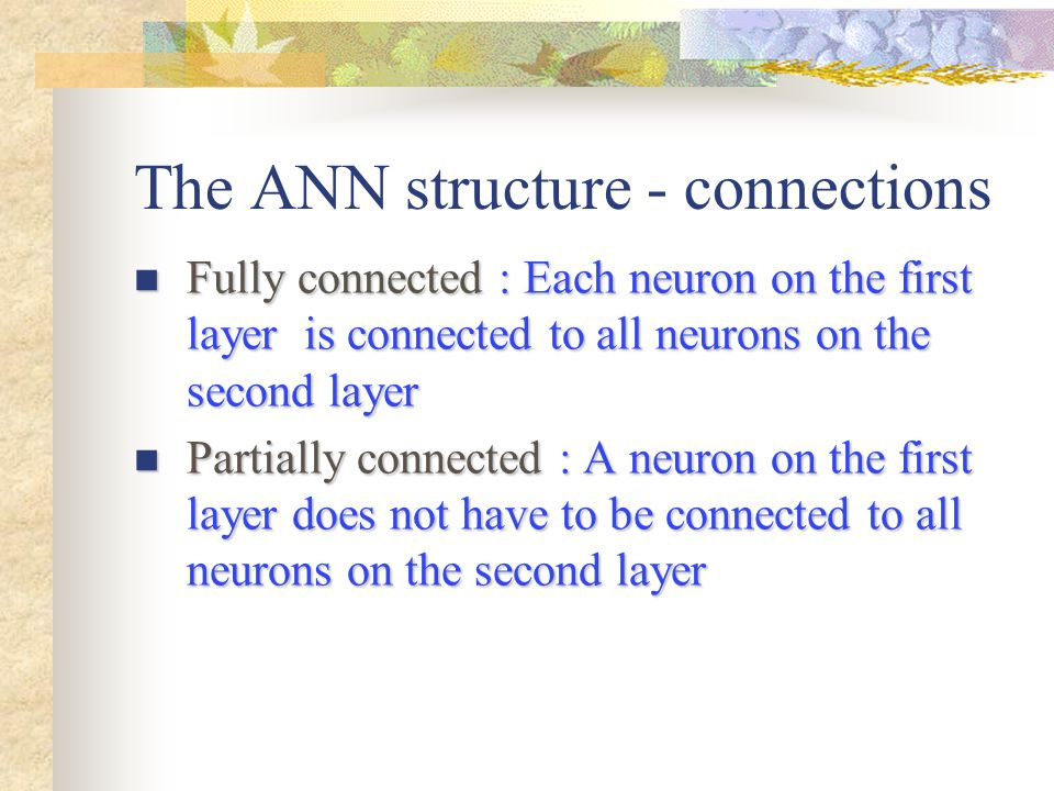 The ANN structure - connections