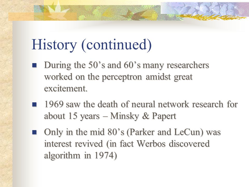 History (continued) During the 50's and 60's many researchers worked on the perceptron amidst great excitement.