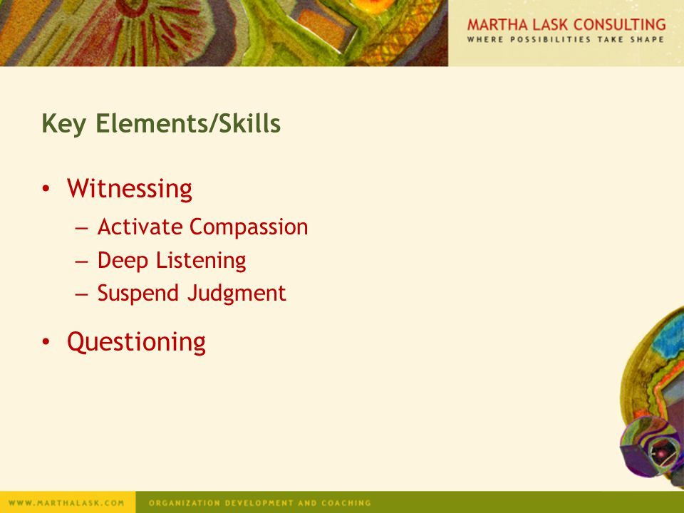 Key Elements/Skills Witnessing Questioning Activate Compassion