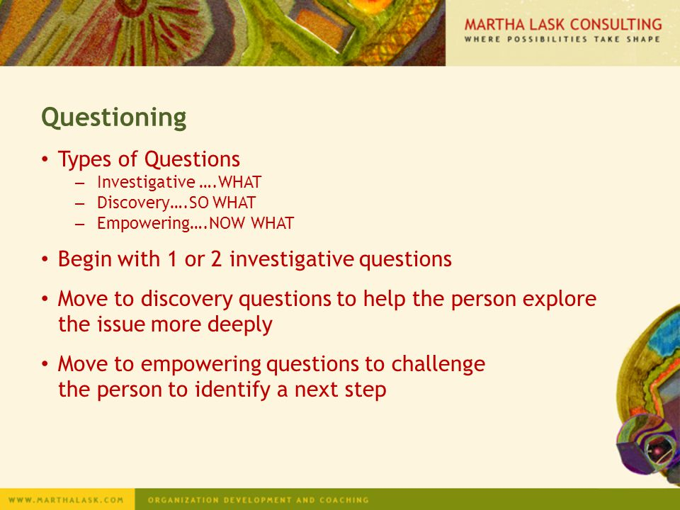 Questioning Types of Questions