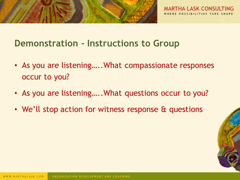 Demonstration - Instructions to Group
