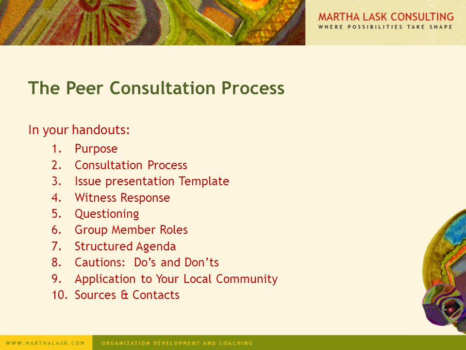 The Peer Consultation Process