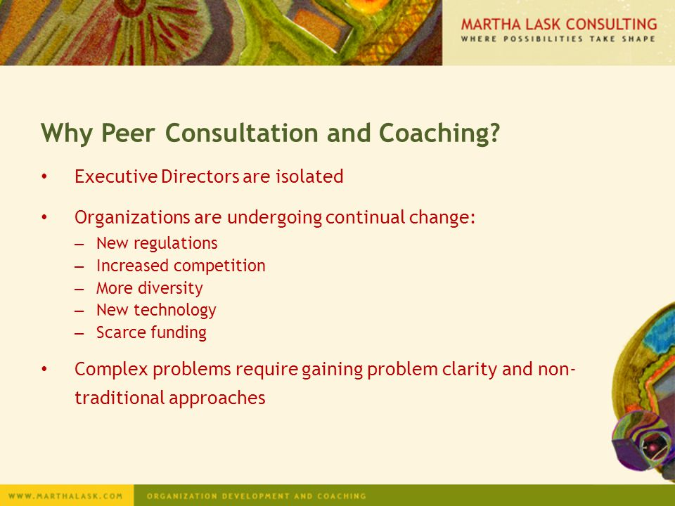 Why Peer Consultation and Coaching