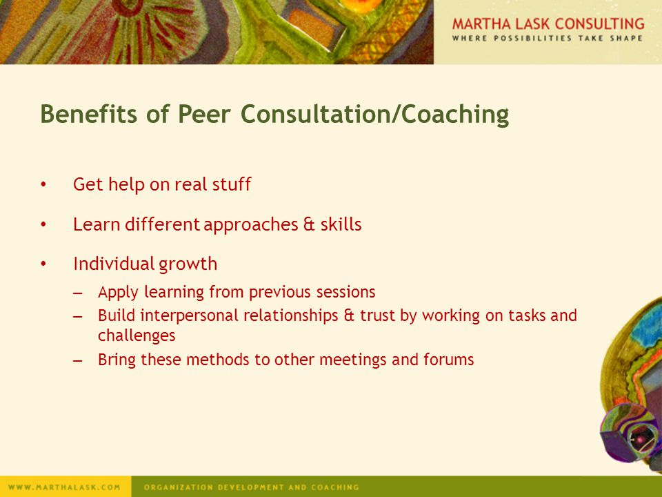 Benefits of Peer Consultation/Coaching