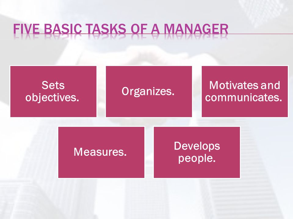 Five Basic tasks of a manager