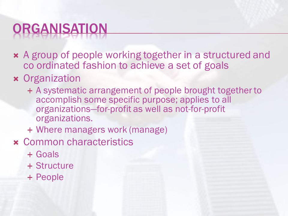 Organisation A group of people working together in a structured and co ordinated fashion to achieve a set of goals.