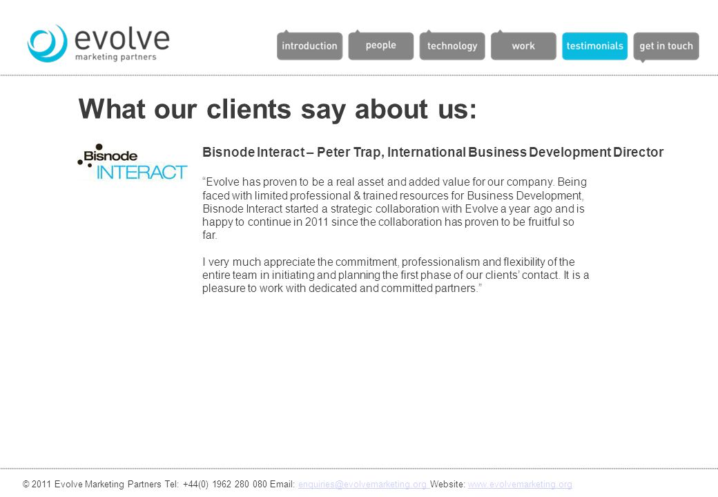 What our clients say about us: