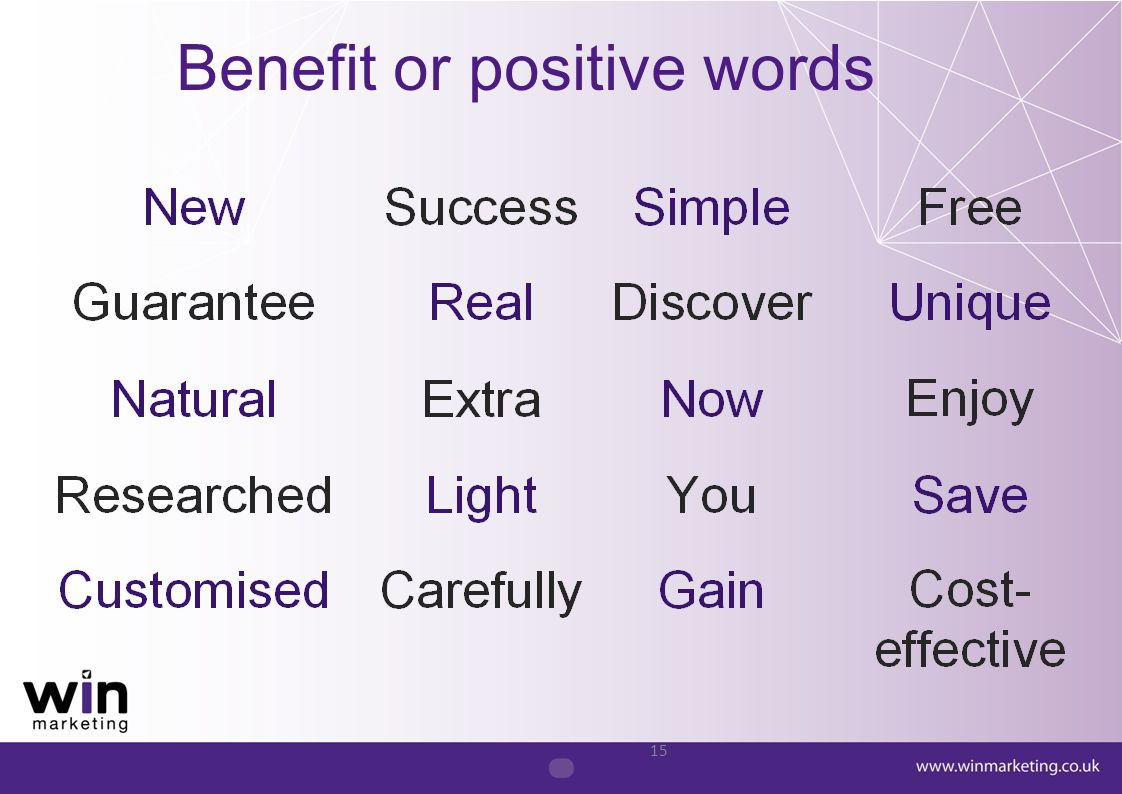 Benefit or positive words