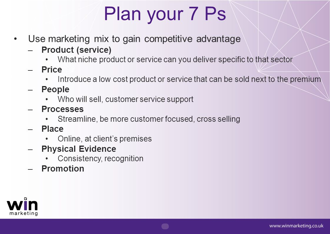 Plan your 7 Ps Use marketing mix to gain competitive advantage