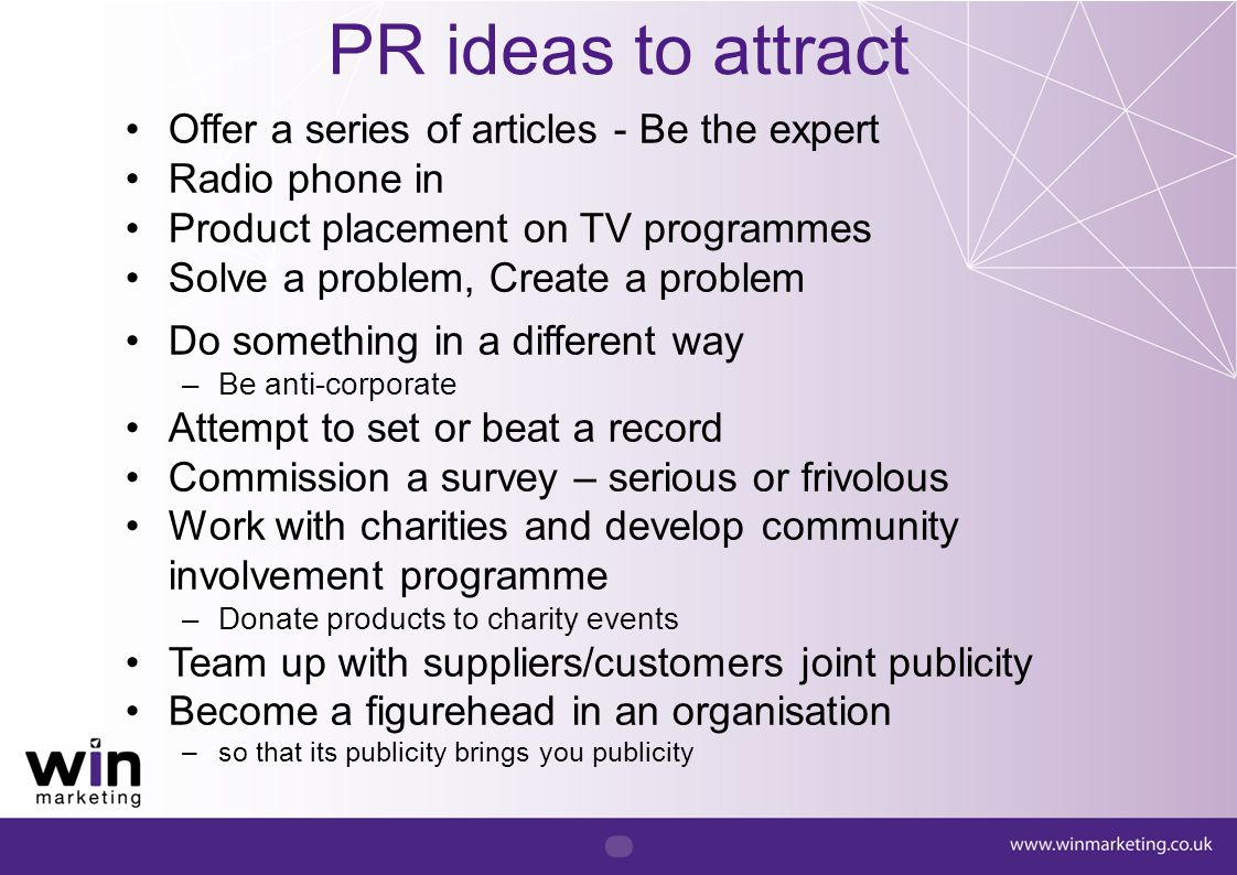 PR ideas to attract Offer a series of articles - Be the expert