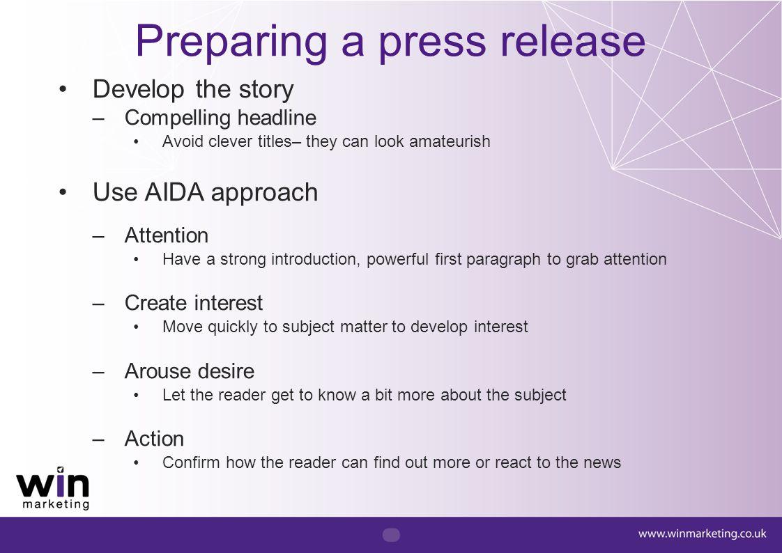 Preparing a press release