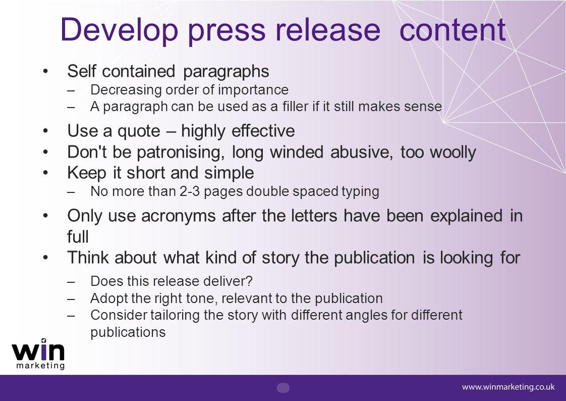 Develop press release content
