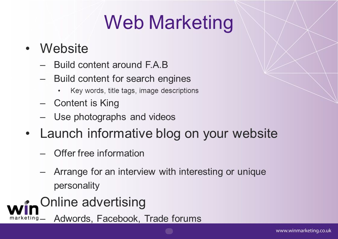 Web Marketing Website Launch informative blog on your website