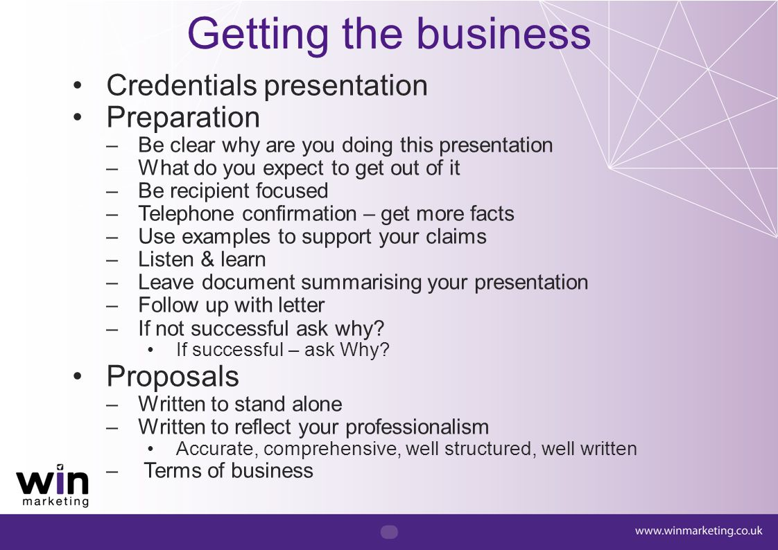 Getting the business Credentials presentation Preparation Proposals