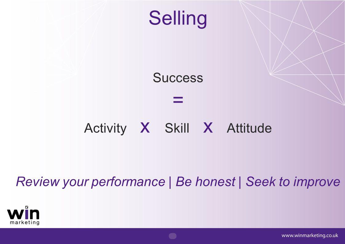 Selling = Success Activity x Skill x Attitude