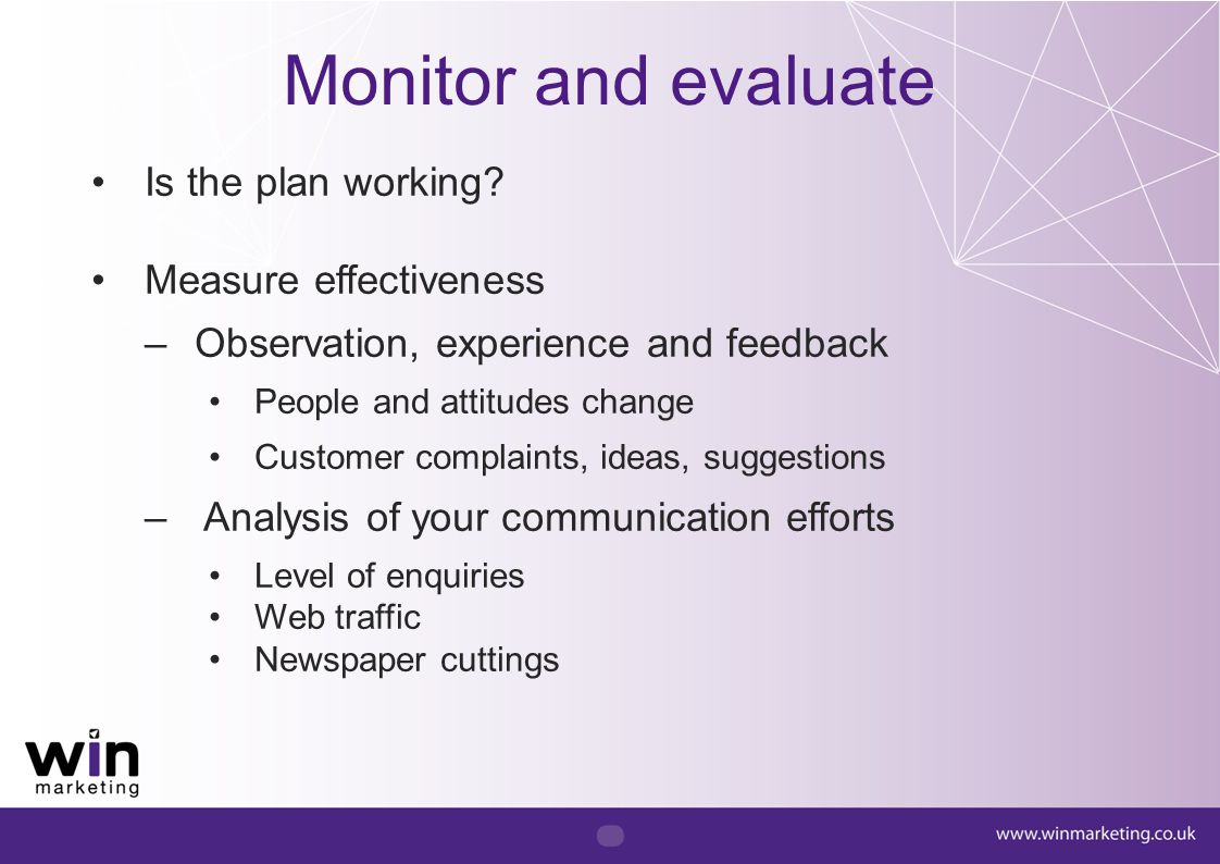 Monitor and evaluate Is the plan working Measure effectiveness